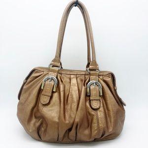 Badgley Mischka Bianca bronze leather handbag